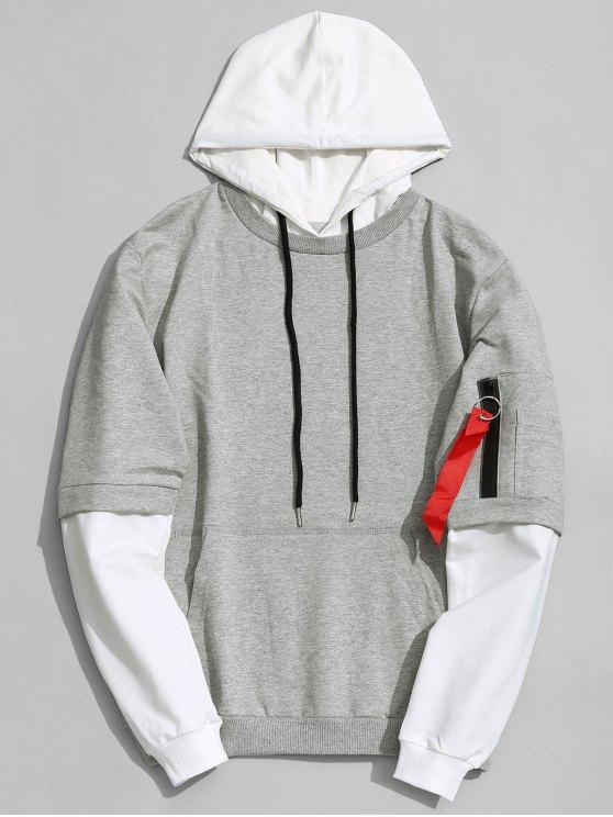 fashion Cotton Two Tone Hoodie - GRAY 3XL