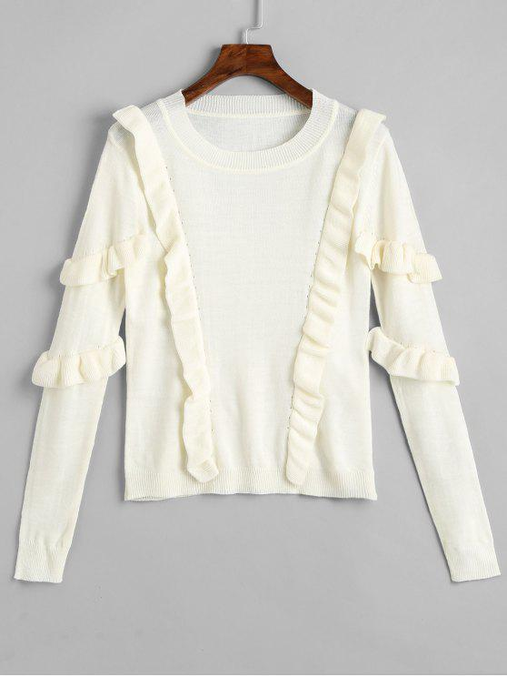 buy Knit Pullover Ruffles Sweater - WHITE L