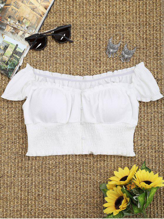 Smocked Off The Shoulder Crop Top - Bianco M