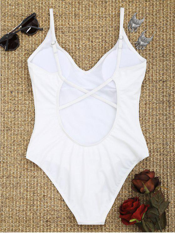 affordable Criss-cross High Cut Swimsuit - WHITE M