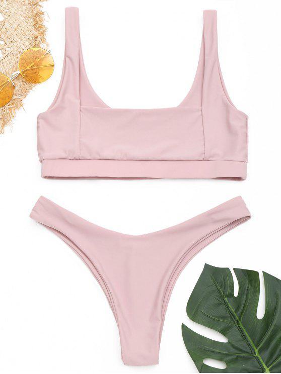 Square Neck - Hoch geschnittenes Bikini-Set - Rötlich Getönt Grau L