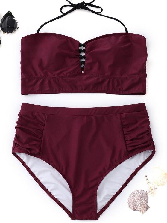 fashion High Waisted Halter Plus Size Bikini - WINE RED XL