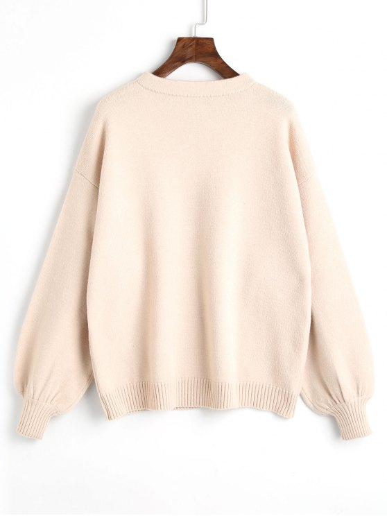 chic Pullover Oversized Lantern Sleeve Sweater - LIGHT APRICOT ONE SIZE