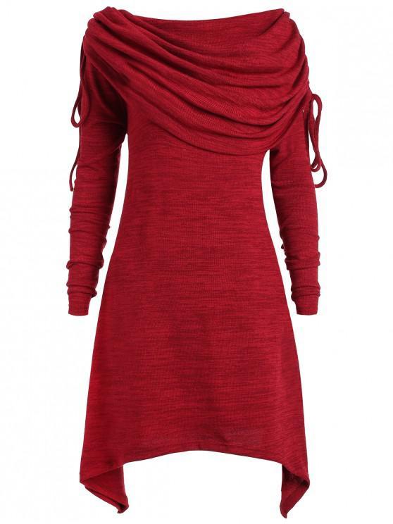 بلوزة طويلة بياقة مطوية ذات مقاس كبير - نبيذ أحمر L