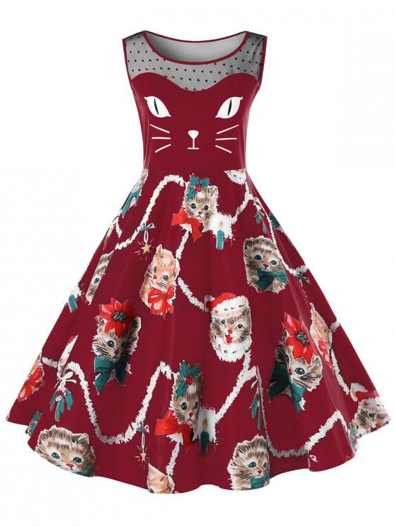 Christmas Plus Size Kitten Swing Dress - Rosu intens 2XL