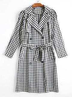 Double Breasted Back Slit Belted Checked Coat - Checked S