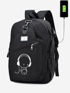 USB Charging Port Luminous Cartoon Print Backpack - Black