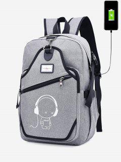 USB Charging Port Luminous Cartoon Print Backpack - Gray