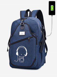 USB Charging Port Luminous Cartoon Print Backpack - Blue