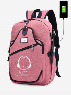 USB Charging Port Luminous Cartoon Print Backpack - Pink
