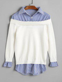 Gestreifter Panel Pullover - Weiß