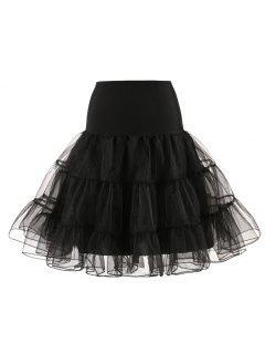 Zaful Femmes Tulle Petticoat Jupes Crinoline Tutu Underskirts - Noir
