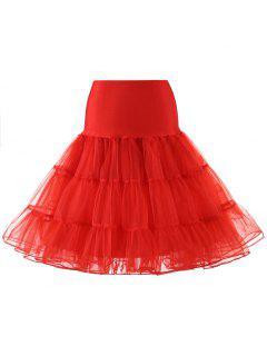Zaful Femmes Tulle Petticoat Jupes Crinoline Tutu Underskirts - Rouge