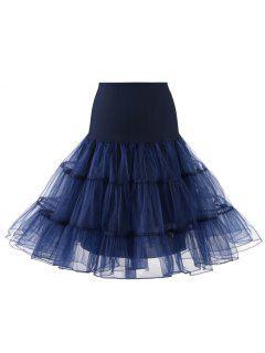 Zaful Femmes Tulle Petticoat Jupes Crinoline Tutu Underskirts - Marine