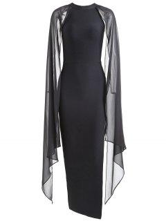 Vestido De Gasa De Alta Hendidura Panel De Gasa - Negro L