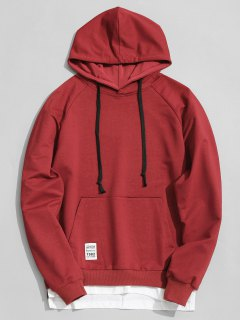 Sweat à Capuche Avec Poche Kangourou - Rouge Vineux  Xl