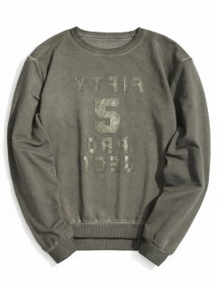 Vintage Graphic Crew Neck Sweatshirt - Gray L