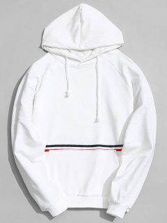 Kangaroo Pocket Striped Hoodie - White L
