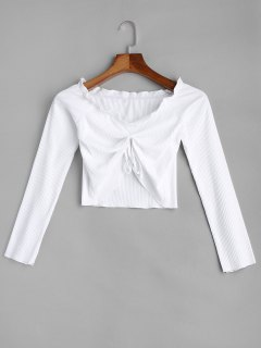 Frilled Ribbed Crop Top - White M