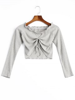 Frilled Ribbed Crop Top - Gray M
