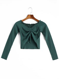 Frilled Ribbed Crop Top - Blackish Green M
