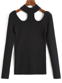 Cutout Ribbed Mock Neck Sweater - Black