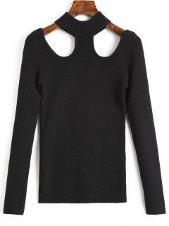Suéter Con Cuello Burdeos Recortable - Negro