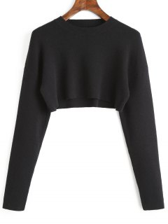 Cropped Crew Neck Sweater - Black