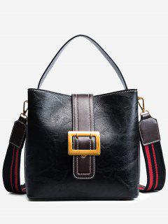 Buckle Strap Faux Leather Stitching Handbag - Black
