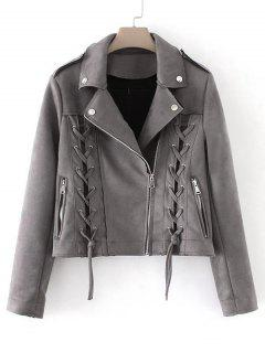 Lace Up Cropped Faux Suede Jacket - Gray S
