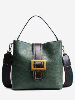 Buckle Strap Faux Leather Stitching Handbag - Green
