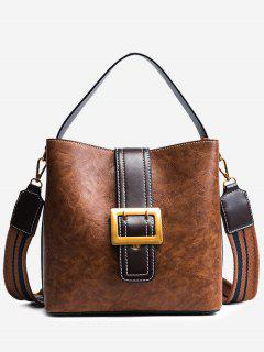 Buckle Strap Faux Leather Stitching Handbag - Brown
