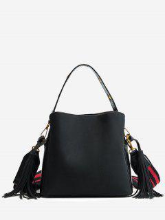 Tassels Multi Function PU Leather Handbag - Black