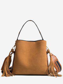 Tassels Multi Function PU Leather Handbag - Brown