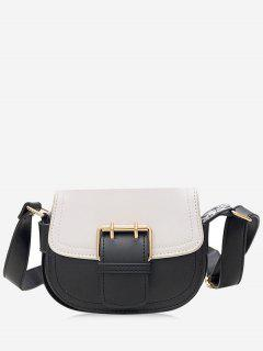 PU Leather Color Blocking Crossbody Bag - White