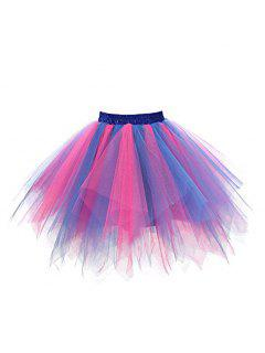 Zaful Candy Couleur Patchwork Tulle Tutu Jupe Femmes Petticoat - 01#