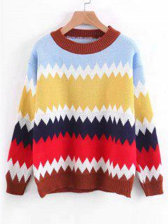 Pullover Contrasting Zig Zag Sweater - Light Blue