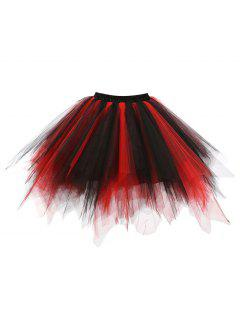 Zaful Candy Couleur Patchwork Tulle Tutu Jupe Femmes Petticoat - 02#