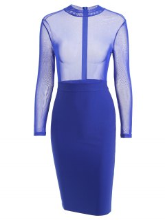 Sheer Mesh Panel Bandage Dress - Royal S