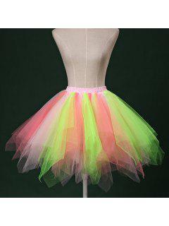 Zaful Candy Couleur Patchwork Tulle Tutu Jupe Femmes Petticoat - 04#