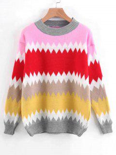 Pullover Contrasting Zig Zag Sweater - Pinkish Purple