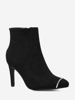 Side Zip High Heel Ankle Boots - Black 36