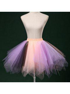 Zaful Candy Couleur Patchwork Tulle Tutu Jupe Femmes Petticoat - 05#