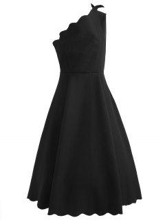 One Shoulder Scalloped Flare Dress - Black M