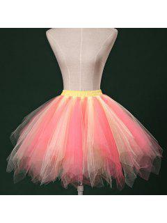 Zaful Candy Couleur Patchwork Tulle Tutu Jupe Femmes Petticoat - 06#