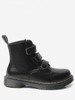Faux Leather Stitching Low Heel Short Boots - Black 40