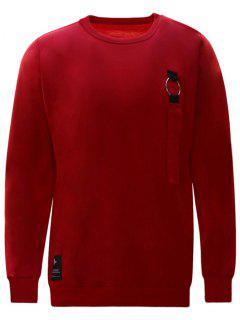 Sweat-shirt Ras Du Cou Détail - Rouge 2xl