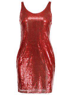 Robe Ajustée Sans Manches à Paillettes - Rouge L