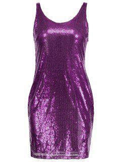 Robe Ajustée Sans Manches à Paillettes - Violet M