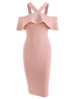 Ruffled Bodycon Prom Dress - Pink M